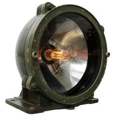 Green Metal Vintage Industrial Mirror Glass Army Tank Floor Table Light