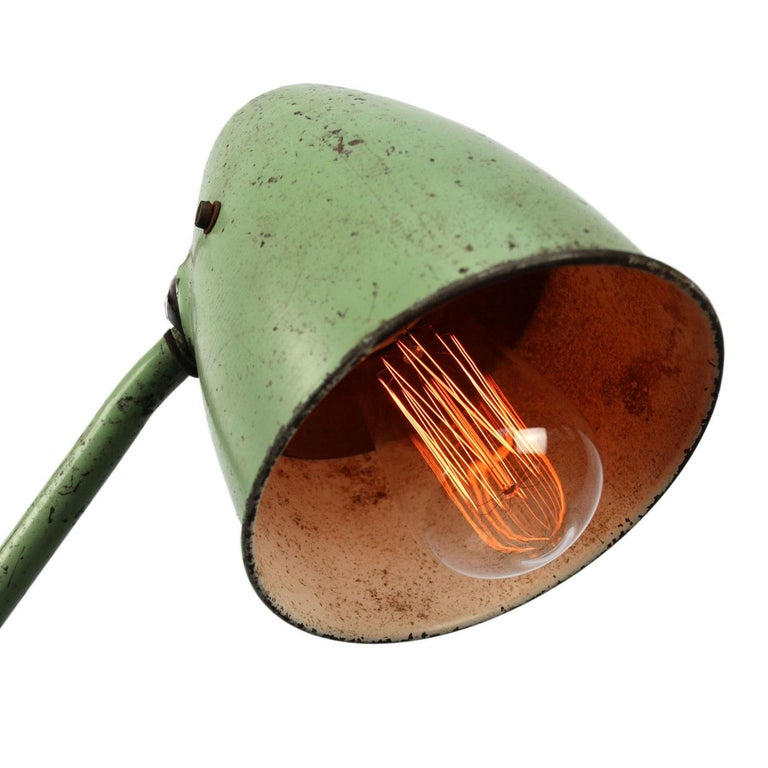 Green Metal Vintage Industrial Work Light Table Desk Light For Sale 1
