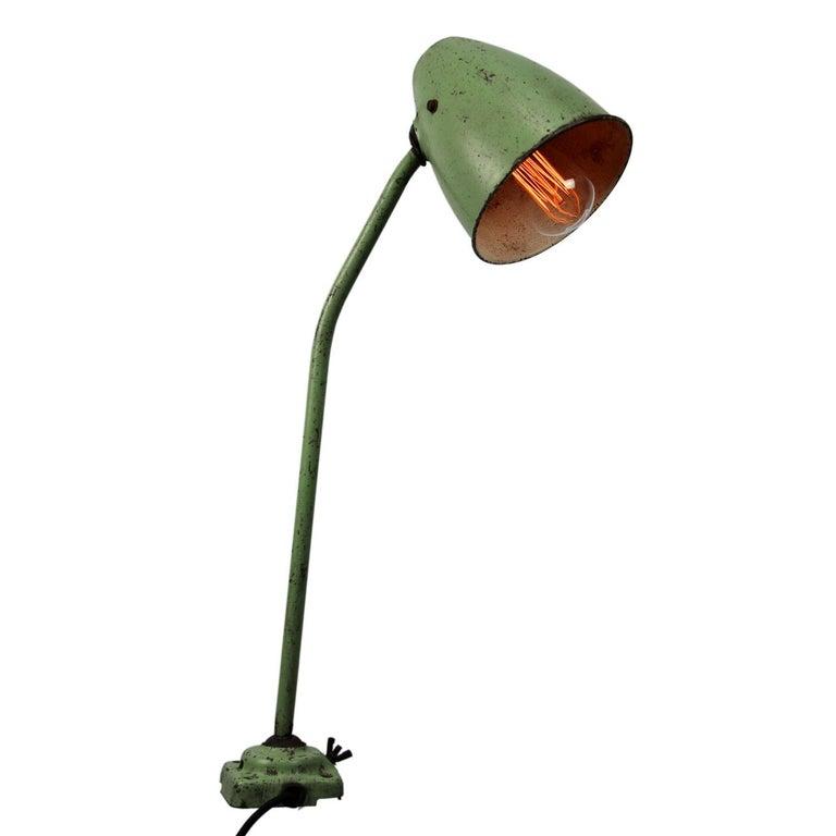 Green Metal Vintage Industrial Work Table Desk Lights (2x) For Sale 2
