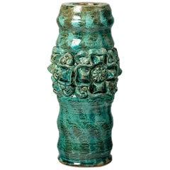 Green mid-century ceramic base table lamp by Jean Austruy 1960 design