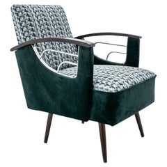 Green Mid-Century Modern Armchair from 1970s, after Renovation