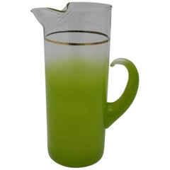 Green Vintage Mid-Century Modern Glass Pitcher, Italy, 1950s
