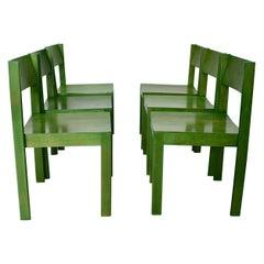 Green Mid-Century Modern Six Vintage Dining Chairs, 1950s, Vienna, Austria