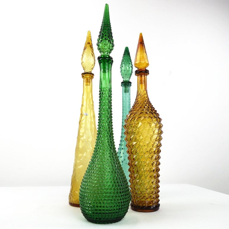 Green Midcentury Glass Genie Decanter with Stopper by Empoli For Sale 1