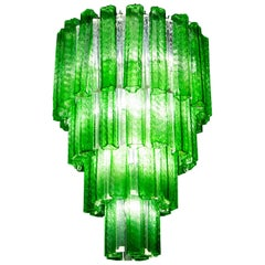 Green Midcentury Murano Glass Tronchi Four-Tier Chandelier, 1960