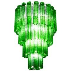 Green Midcentury Murano Glass Tronchi Four-Tier Chandelier, 1960