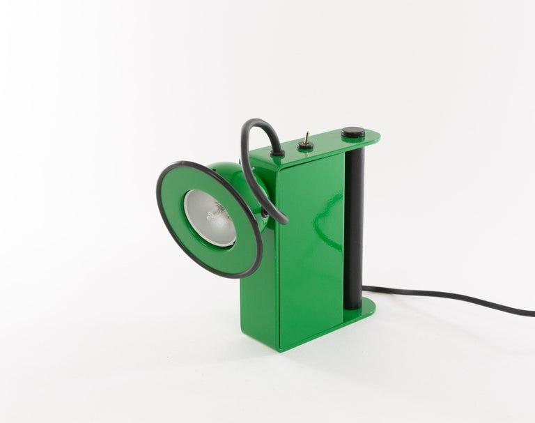 Lacquered Green Minibox Table Lamp by Gae Aulenti & Piero Castiglioni for Stilnovo, 1980s For Sale
