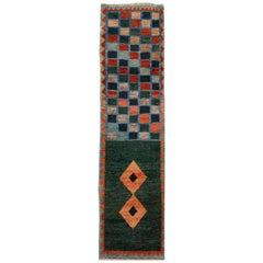 Green Modern Gabbeh Handmade Wool Runner