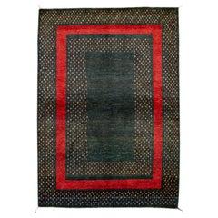 Green Modern Gabbeh Persian Handmade Wool Rug