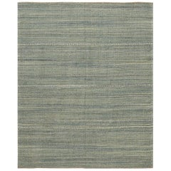 Green Modern Persian Kilim Rug. Size: 5 ft 5 in x 6 ft 7 in
