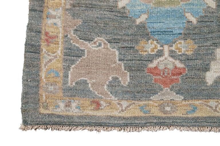 Green Modern Sultanabad Handmade Wool Runner For Sale 4