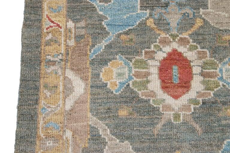 Green Modern Sultanabad Handmade Wool Runner For Sale 6