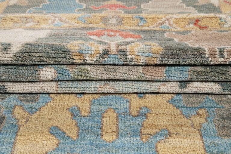 Green Modern Sultanabad Handmade Wool Runner For Sale 8