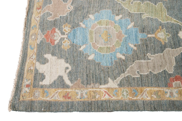 Hand-Knotted Green Modern Sultanabad Handmade Wool Runner For Sale