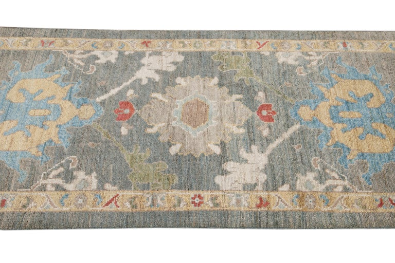 Green Modern Sultanabad Handmade Wool Runner In New Condition For Sale In Norwalk, CT