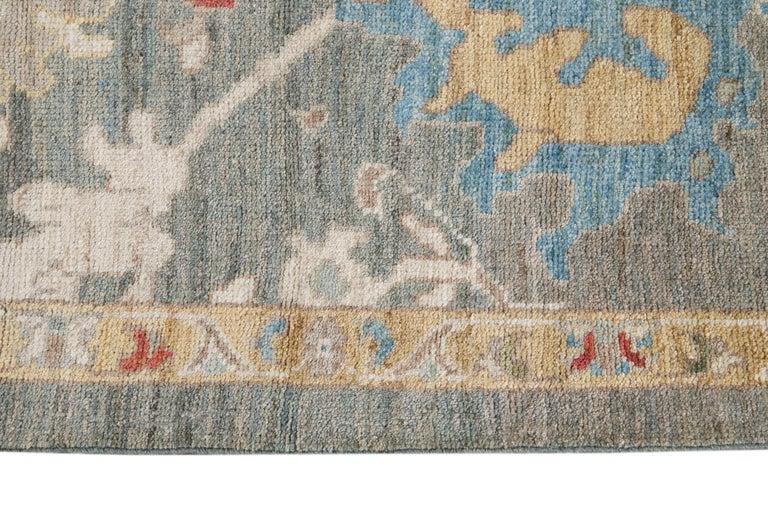Green Modern Sultanabad Handmade Wool Runner For Sale 2