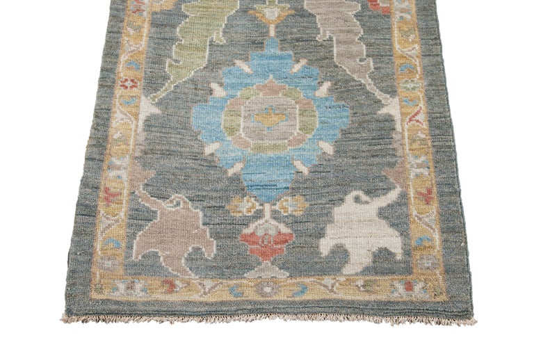 Green Modern Sultanabad Handmade Wool Runner For Sale 3