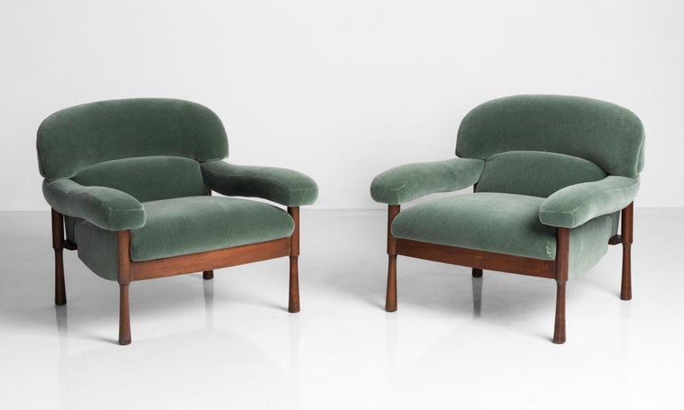 Green Mohair armchairs by Elam, Italy, circa 1960.