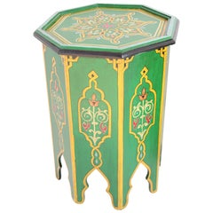 Green Moroccan Hand Painted Pedestal Table