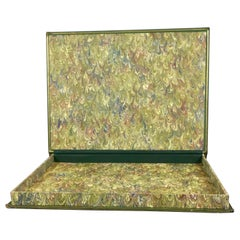Green Morocco Leather Elephant Folio Book Cover Now A Marbleized Paper Lined Box