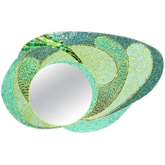 Green Mosaic Wall Mirror, Large and Unique, France