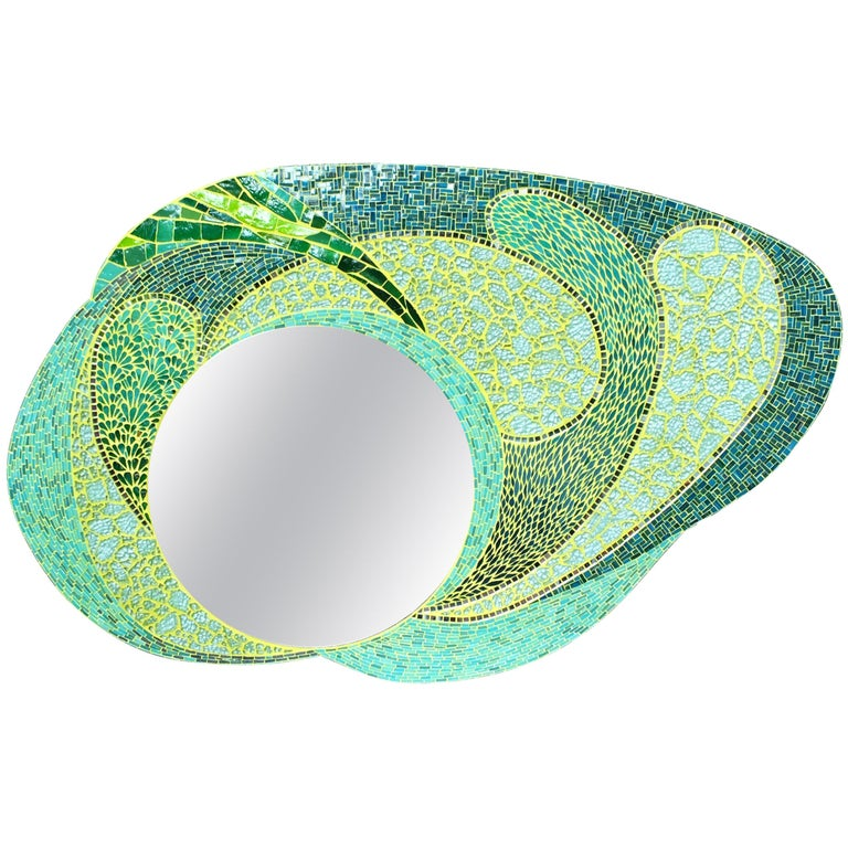 Green Mosaic Wall Mirror, Large and Unique, France For Sale