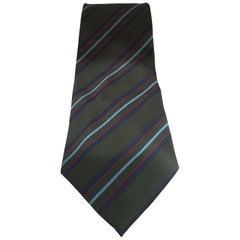 Green multicoloured silk tie