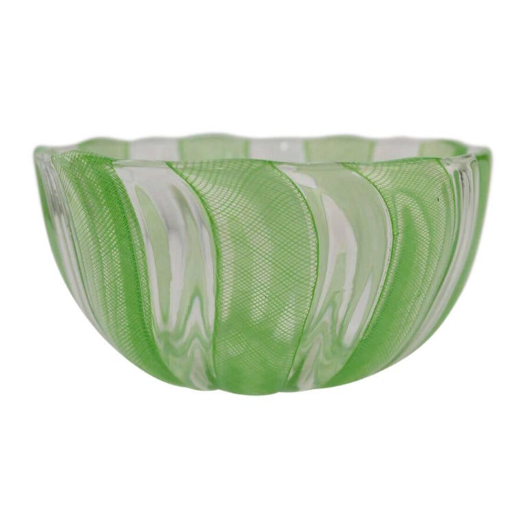 Beautiful Murano handblown green and white filigree thread and ribbons Italian art glass bowl.