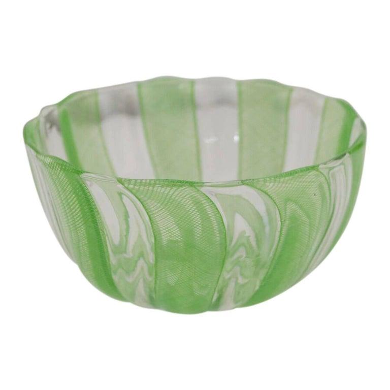 Mid-Century Modern Green Murano Filigree Striped Bowl For Sale