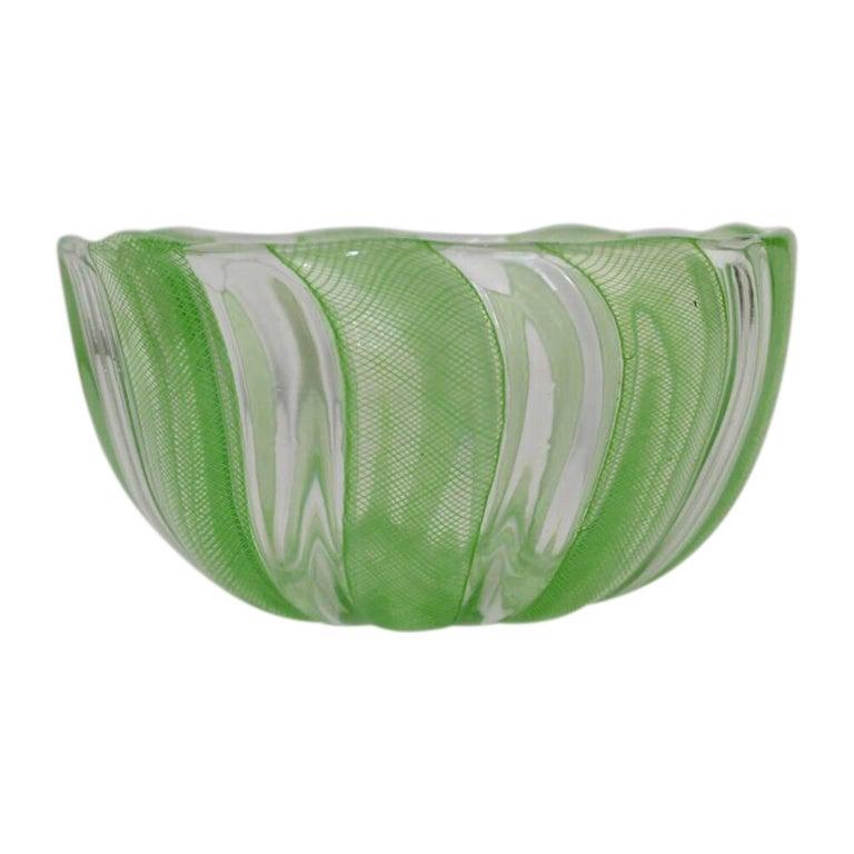 Italian Green Murano Filigree Striped Bowl For Sale