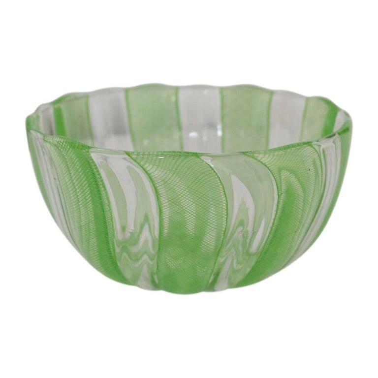 Hand-Crafted Green Murano Filigree Striped Bowl For Sale