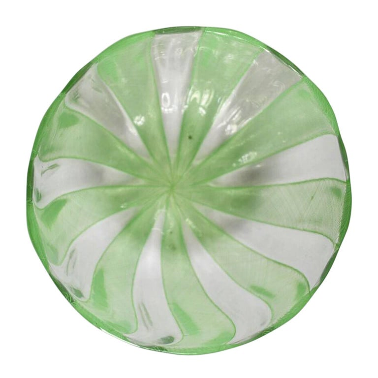 20th Century Green Murano Filigree Striped Bowl For Sale