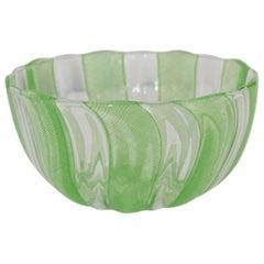Green Murano Filigree Striped Bowl