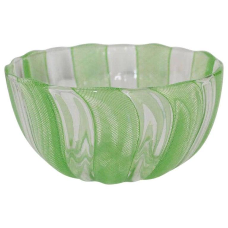 Green Murano Filigree Striped Bowl For Sale