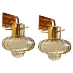 Green Murano Glass & Gold Plated Pair Sconces, Mazzega Style Vintage Italy 1980s