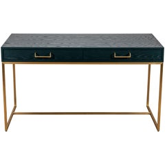 Green Oak and Brass Thin Frame Desk by Lawson-Fenning