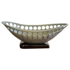 Green Oblong Ceramic Centerpiece Fruit Bowl with Satin Glaze