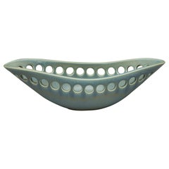 Green Oblong Ceramic Centerpiece Fruit Bowl with Satin Glaze, in Stock