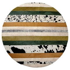 Green, Black & White Round Nueva Raya Customizable Cowhide Area Floor Rug Small
