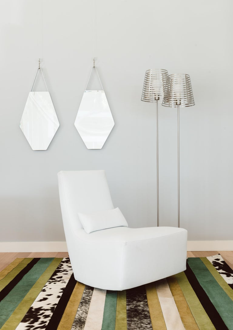 Art Deco Green ochre & white stripes Nueva Raya Customizable Cowhide Area Rug Large For Sale