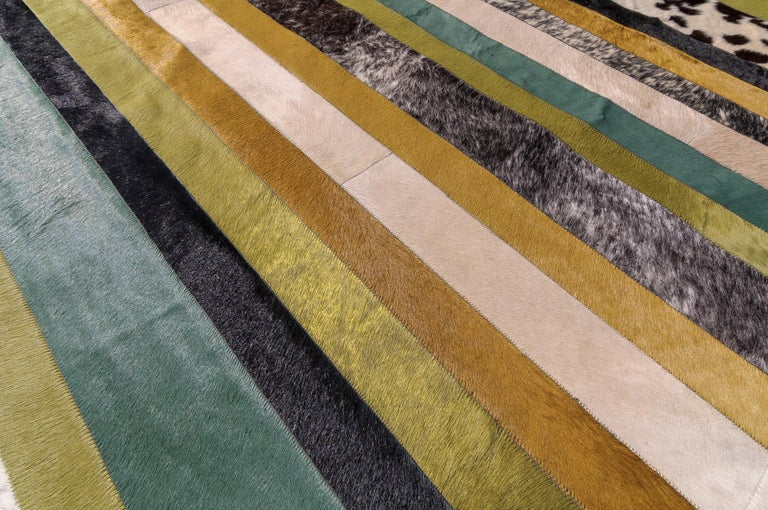 Machine-Made Green ochre & white stripes Nueva Raya Customizable Cowhide Area Rug Large For Sale