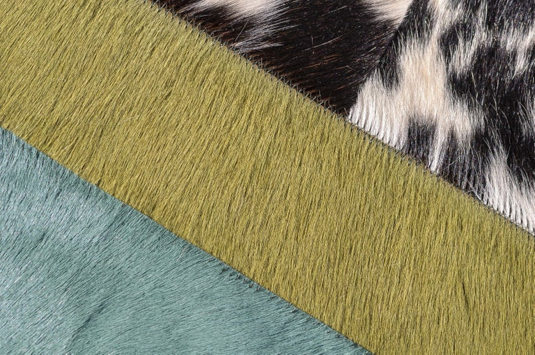 Green ochre & white stripes Nueva Raya Customizable Cowhide Area Rug Large In New Condition For Sale In Charlotte, NC