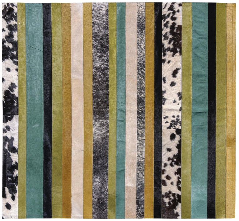 Contemporary Green ochre & white stripes Nueva Raya Customizable Cowhide Area Rug Large For Sale