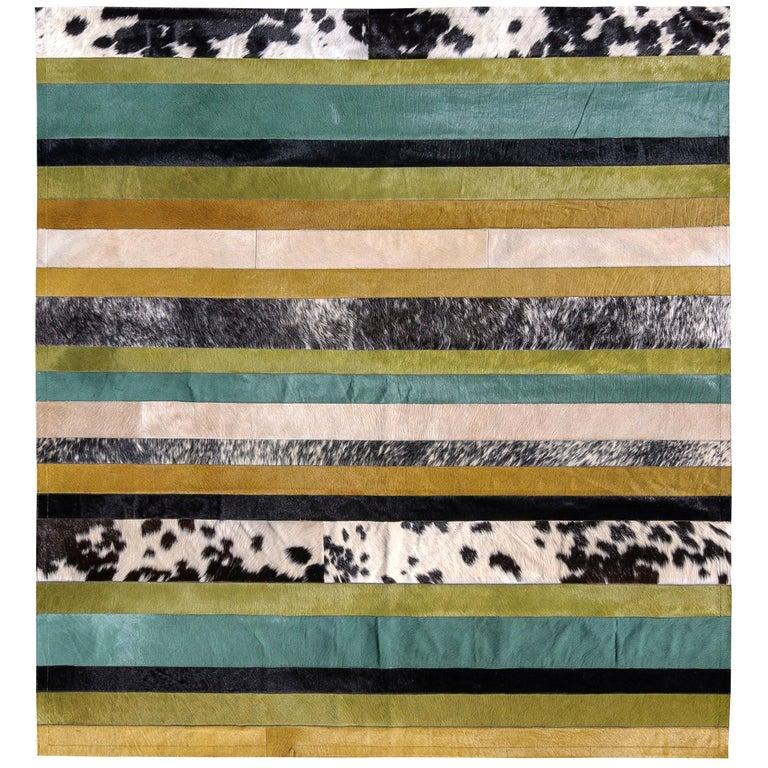 Green ochre & white stripes Nueva Raya Customizable Cowhide Area Rug Large For Sale