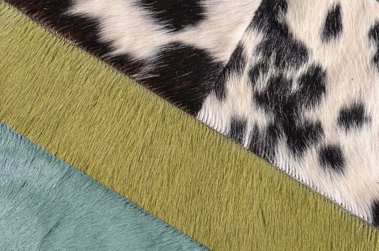 Pakistani Green Ochre & White Stripes Nueva Raya Customizable Cowhide Area Rug Medium For Sale