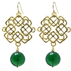 Green Onyx Gold Eastern Earrings