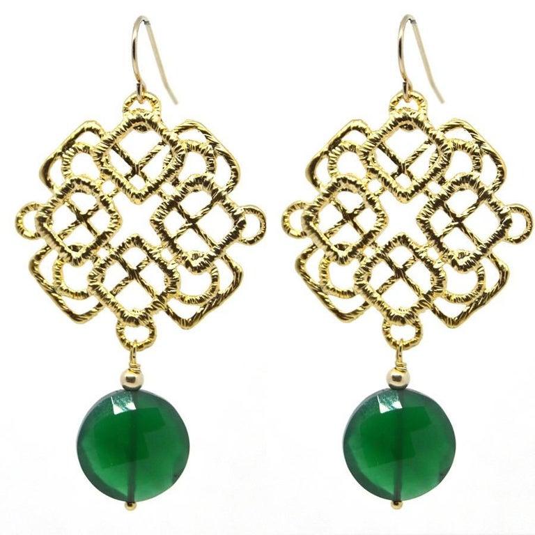 Green Onyx Gold Eastern Earrings