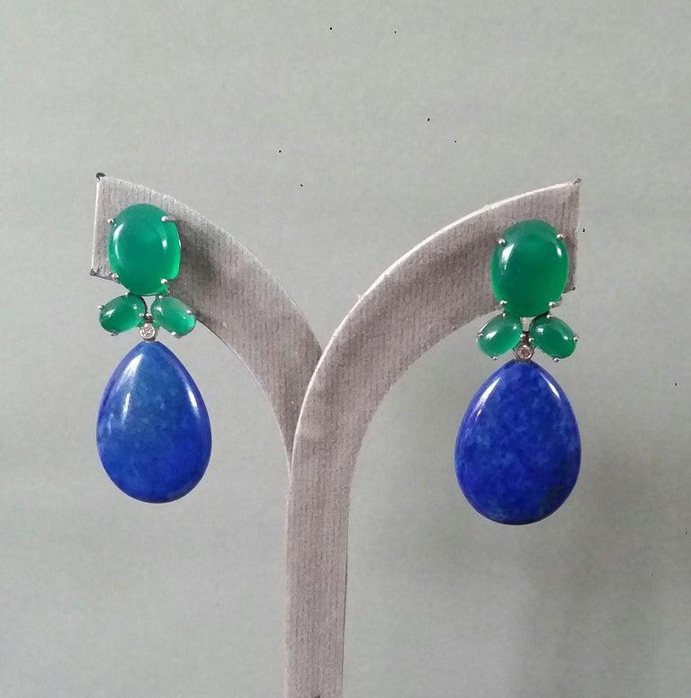 Green Onyx Oval Cabs Gold Diamonds Natural Lapis Lazuli Flat Plain Drop Earrings For Sale 4