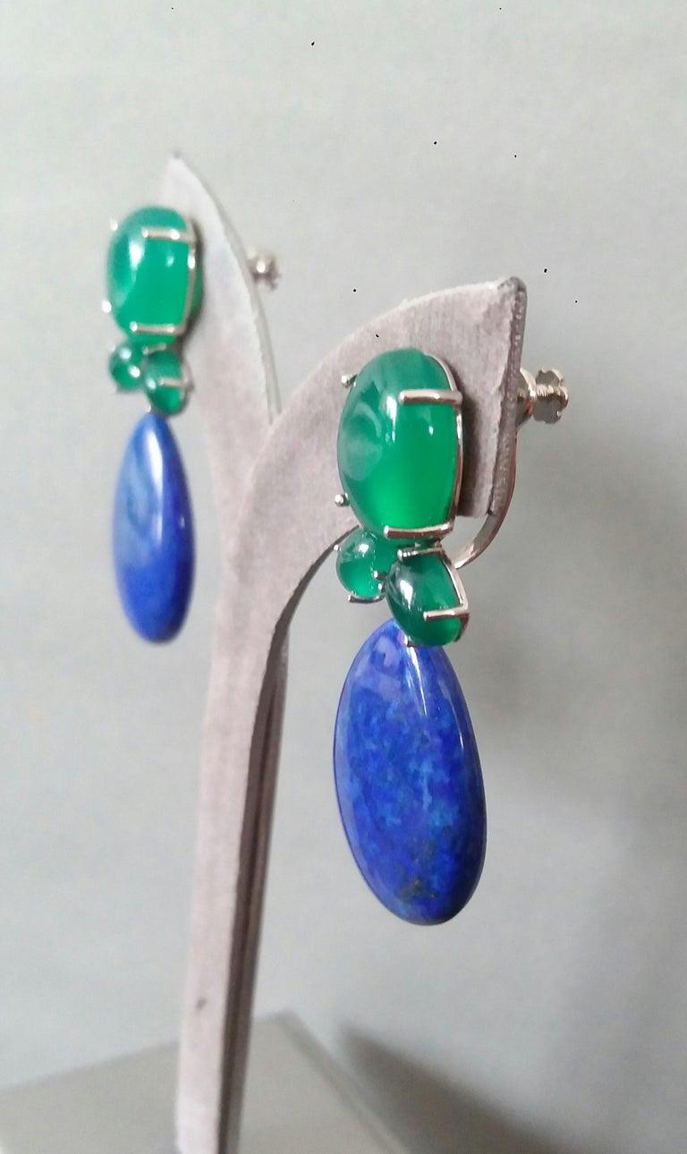 Green Onyx Oval Cabs Gold Diamonds Natural Lapis Lazuli Flat Plain Drop Earrings For Sale 5