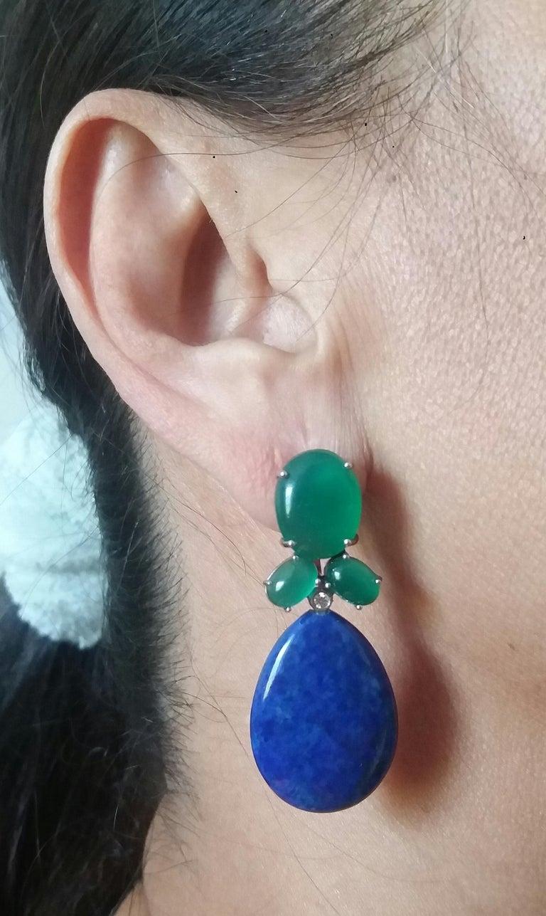 Green Onyx Oval Cabs Gold Diamonds Natural Lapis Lazuli Flat Plain Drop Earrings For Sale 8